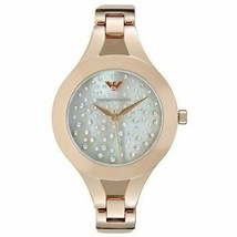 Emporio Armani Classic Ladies Watch AR7437 MOP Crystal Pave Dial Leather... - $149.99