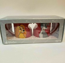 Disney Parks Authentic Lady & The Tramp Red Heart Mugs Set NIB - $34.99