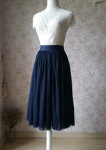 NAVY Midi Tulle Skirt Navy Blue Plus Size Tulle Skirt High Waisted Navy Tutu image 4