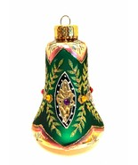 Vintage Christmas Ornament Hand Crafted Glass Bell Shape Glitzy 4 inches... - $25.74