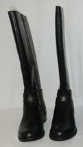 Soda HIROS Black Zip Up Riding Boot Gold Colored Accents Size Nine image 2