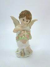 Schmid Angel 1985 B Shackman Figurine Vintage Basket Roses 31907 - $44.54