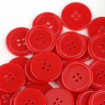 GANSSIA 1'' 25mm Sewing Flatback Buttons Red Color Pack of 50 - £7.52 GBP