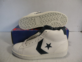 CONVERSE PRO LEATHER HI MEN SZ 4 / WOMEN SZ 5.5 SHOES WHITE/NAVY 14366 NEW - $69.29