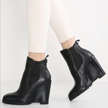 MICHAEL KORS Thea Wedge Boots Black Leather Bootie Boots Ankle Booties 9... - $106.82