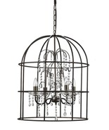 Restoration Style Metal Birdcage Chandelier with Crystals and 4 Lights,2... - $325.00