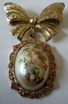 Vintage 1928 Pink Rhinestones Roses Gold Tone Pendant on Gold Ribbon Bro... - $22.72