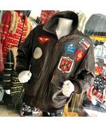 Men's Brown Vintage Bomber Genuine Leather Jacket Size XL - $787.55