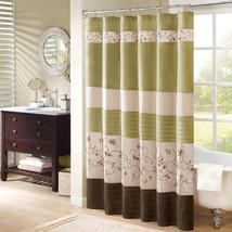 "Luxury Green & Brown Floral Embroidered Fabric Shower Curtain - 72"" x 72"" - $49.99"