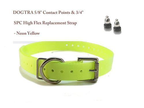 "DOGTRA 5/8"" Contact Points & 3/4"" SPC High Flex Replacement Strap - Neon Yellow"