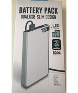 Battery Pack 5000 mAh 2.1A Silver Dual USB Slim Portable Charger - $24.99