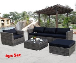 Patio Furniture Sets Clearance Rattan Wicker Small Sectional Black Cushi... - $1,171.51