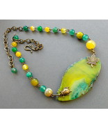 statement necklace agate yellow-olive-green. - $34.00