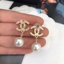 Authentic CHANEL Classic Signature Crystal CC Logo Pearl Drop Earrings Gold  image 4