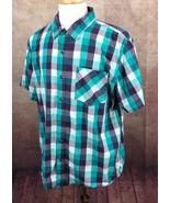 Magellan Outdoors Classic Fit Mag Shield Short Sleeve Green Plaid Shirt ... - $17.81