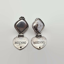 Vintage Moschino by Redwall Made In Italy Silver Tone Clip Heart Earrings  - $75.66