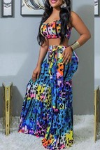 Chic Spaghetti Straps Loose Multicolor Two-piece Pants Set - $30.70