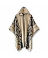Lightweight BABY ALPACA Wool Hooded Poncho Pullover UNISEX Handmade in O... - £47.82 GBP