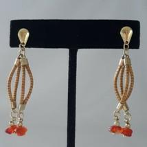 Vintage Dangly Earrings Snake Chain Red Orange Beaded 1980s Estate Gold ... - $12.99