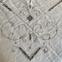 Vintage Battenberg Lace Tablecloth Off White Cream 66 x 98 Beautiful - $47.52