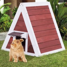 Weatherproof Wooden Cat House Furniture Shelter with Eave - $90.40