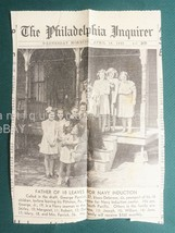 1945 vintage GEORGE PARRICK w 10 CHILDREN WWII DRAFT newspaper clipping ... - $24.95