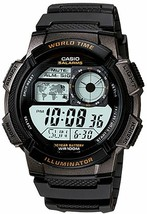 Casio AE1000W-1A Men's Black Resin Band 5 Alarms Chronograph World Time ... - $21.95