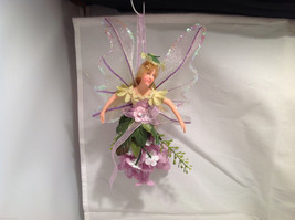 American Silkflower Hanging Flower Mini Angel Fairy Purple, Hand Painted Face