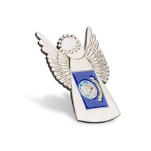 NAVY ANGEL SILVER ANTIQUE FLAG PIN - $13.53