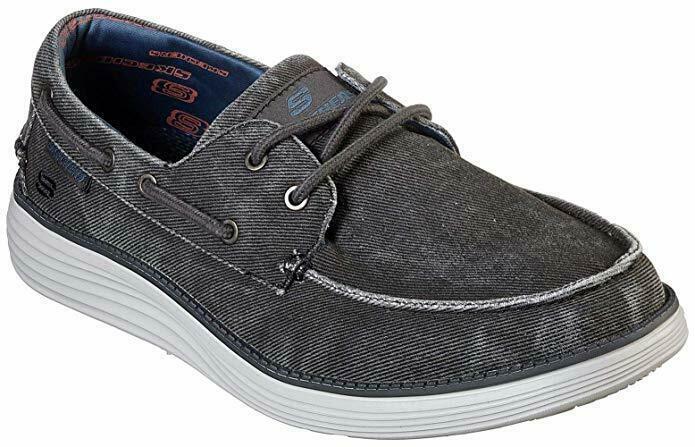 Skechers Wide Fit Black shoes Men's Memory Foam Boat Casual Canvas Comfort 65908