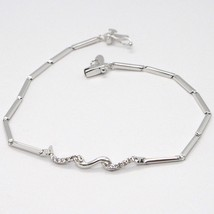 Bracelet or Blanc 18K 750, Tennis avec Zircon, Tubes, Serpent Ondulé image 2