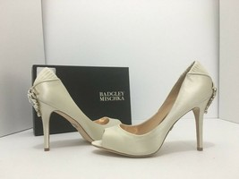 Badgley Mischka Cali Ivory Satin Women's Evening High Heels Open Toe Pum... - $74.25
