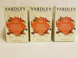 Lot 3 Yardley London Pumpkin Cream and Cinnamon Bar Soap 4.25oz LIMITED EDITION - $19.79