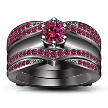 Black Gold Plated Round Cut Pink Sapphire Wrap Wedding Ring Set & Free Shipping - $154.25