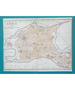 "SPAIN Cadiz Town City Plan - 1913 Baedeker Map 6 x 8"" (15 x 20 cm) - $13.05"