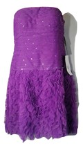 NWT$198 ADRIANNA PAPELL Dress 6 Ruffled Evening Cocktail Party Sequins W... - $28.45