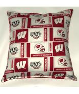 Wisconsin University Pillow Badgers Pillow Football Pillow NCAA HANDMADE... - $9.99