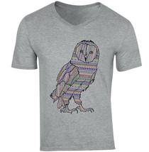 Owl Aztec Doodle - NEW COTTON GREY V-NECK TSHIRT - $20.70