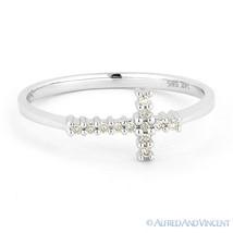 0.07ct Round Cut Diamond Sideways Cross 14k White Gold Right-Hand Promise Ring - €264,41 EUR