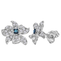 Sterling Silver Womens Round Blue Color Enhanced Diamond Pinwheel Stud Earrings - $144.00
