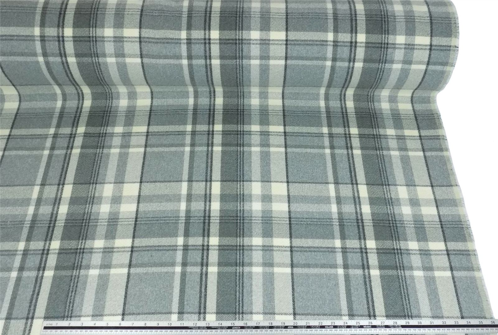 Tartan Check Wool Look and Feel Grey Cream Upholstery Fabric Material 3 Sizes