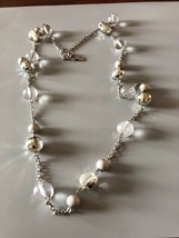 Silvertone And Bead Signed Guess Necklace - $7.67