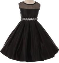Flower Girl Dress See Through Shoulder Rhinestone Belt Black GG 3574 - $43.55+
