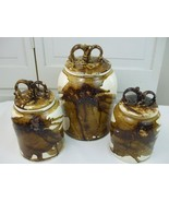 Studio Art Pottery Canister Set Jars Brown Drip Glaze Signed Dated Vinta... - $188.05