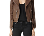 Women Stylsh Brown Studded Leather Formal Occasions Handmade  Jacket