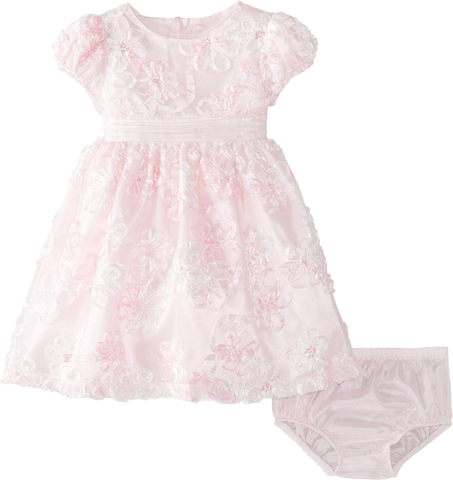 Bonnie Jean Baby Girls 3M-24M Pink/White Sequined Soutache Social Party Dress