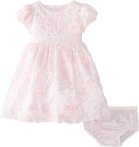 Bonnie Jean Baby Girls 3M-24M Pink/White Sequined Soutache Social Party Dress image 1