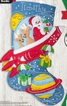 Bucilla Rocket Ship Santa Space Christmas Delivery Felt Stocking Kit 89237E - $37.95