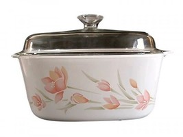 Peach Floral 5 QUART CORNING WARE CASSEROLE WITH LID USA - $69.29