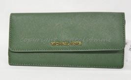 NWT Michael Kors Jet Set Travel Slim Flat Wallet in Moss Green - $99.00
